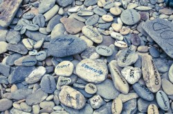 Stones with words written on them. Photo courtesy: Outward Bound.