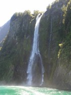 Milford Sound waterfall.