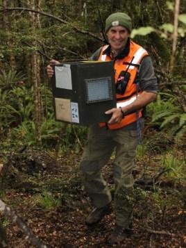 DOC Rranger Malcom Swanney with a kiwi carry case. Photo: Nina Mercer.