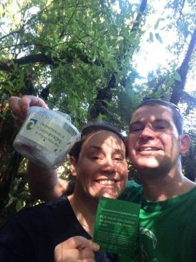 Kev Young and Suzanne Doran discover a cache.