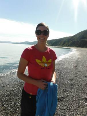 Karlene on the beach on the way to Pencarrow lighthouse.