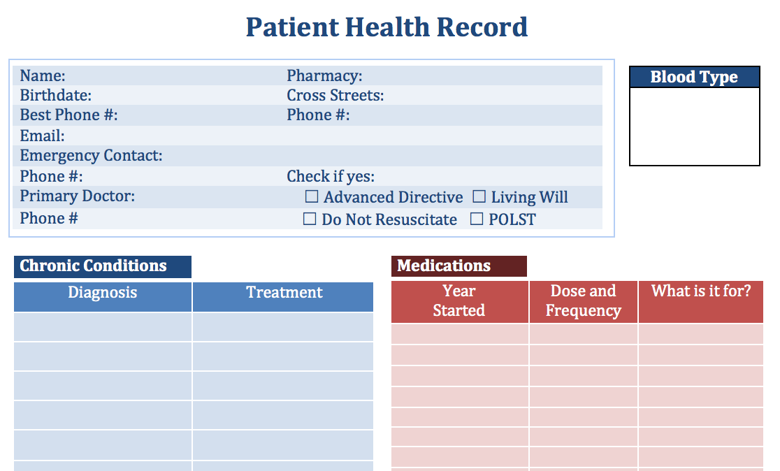 Personal Health Record Templates Doc On A Mission