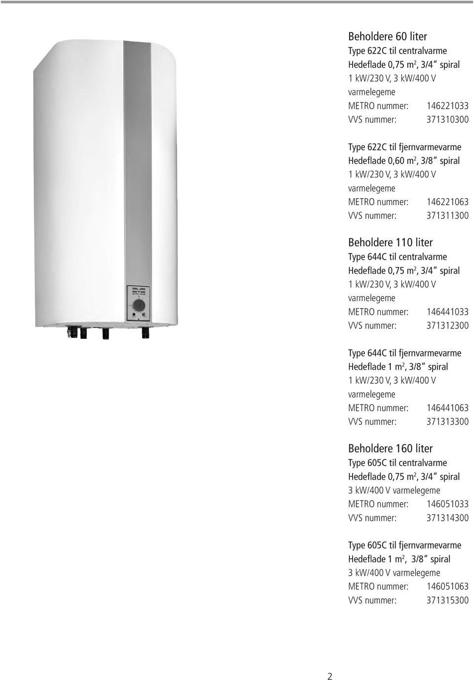 Metro vandvarmer 110 l manual