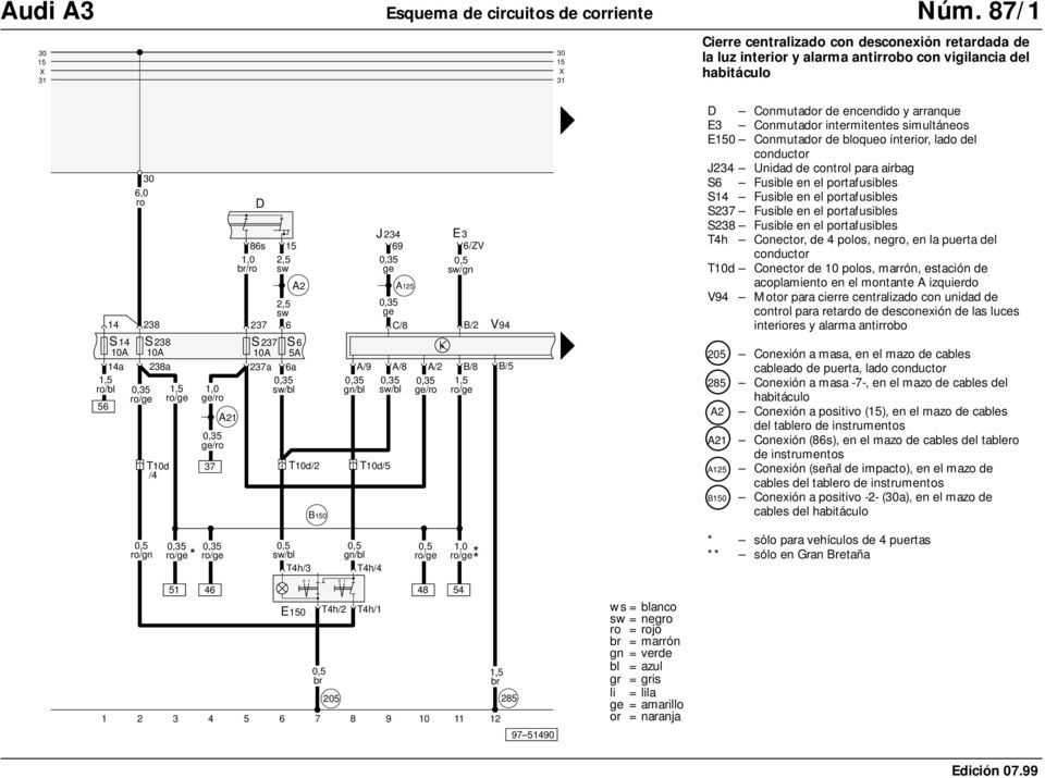 opel diagrama de cableado de las luces