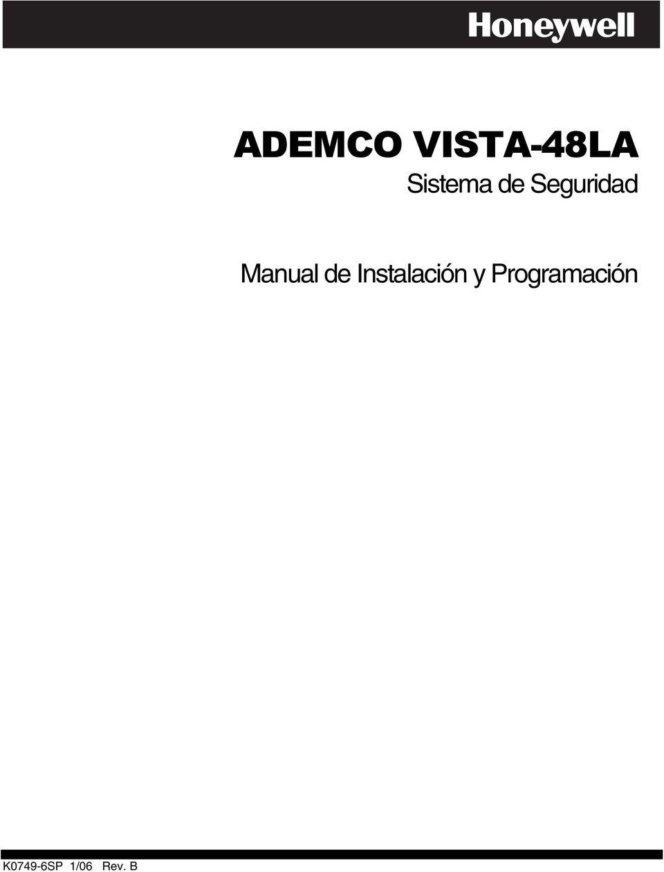ADEMCO VISTA-48LA. Sistema de Seguridad. Manual de