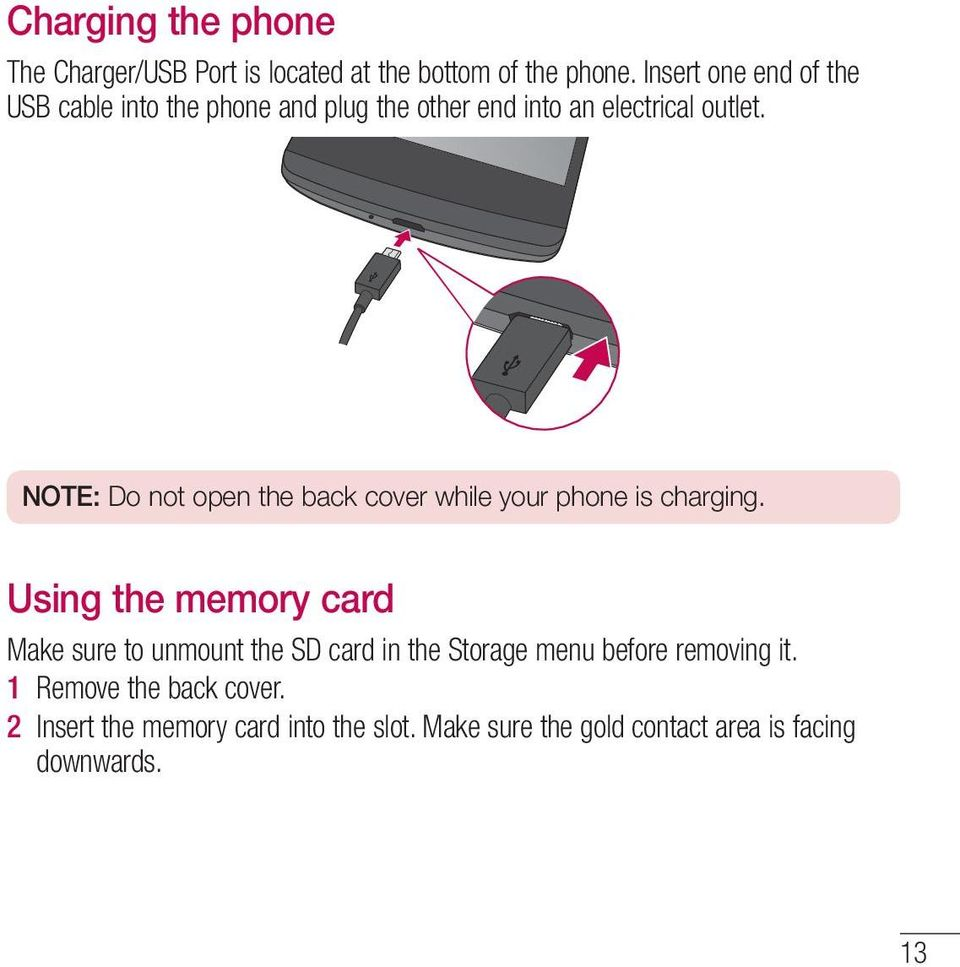 hight resolution of note do not open the back cover while your phone is charging