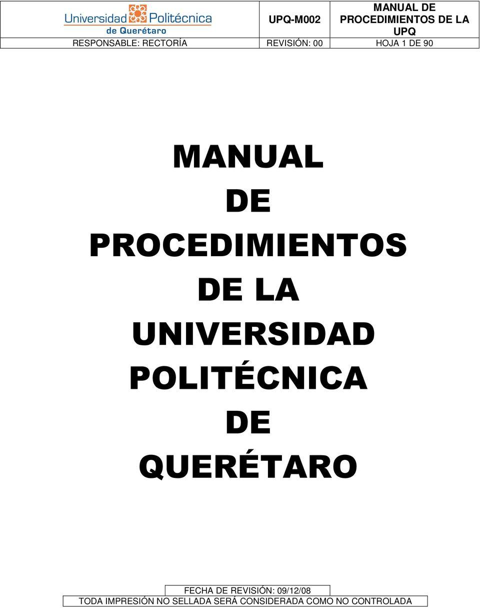 MANUAL DE PROCEDIMIENTOS DE LA UNIVERSIDAD POLITÉCNICA DE