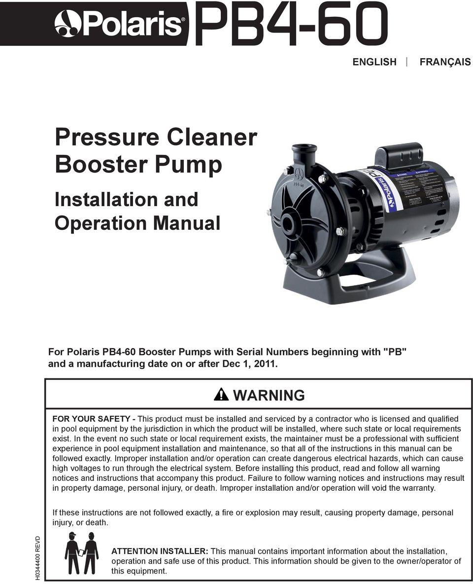 hight resolution of such state or local requirements exist 2 page 2 english polaris pb4 60 booster pump installation and operation manual
