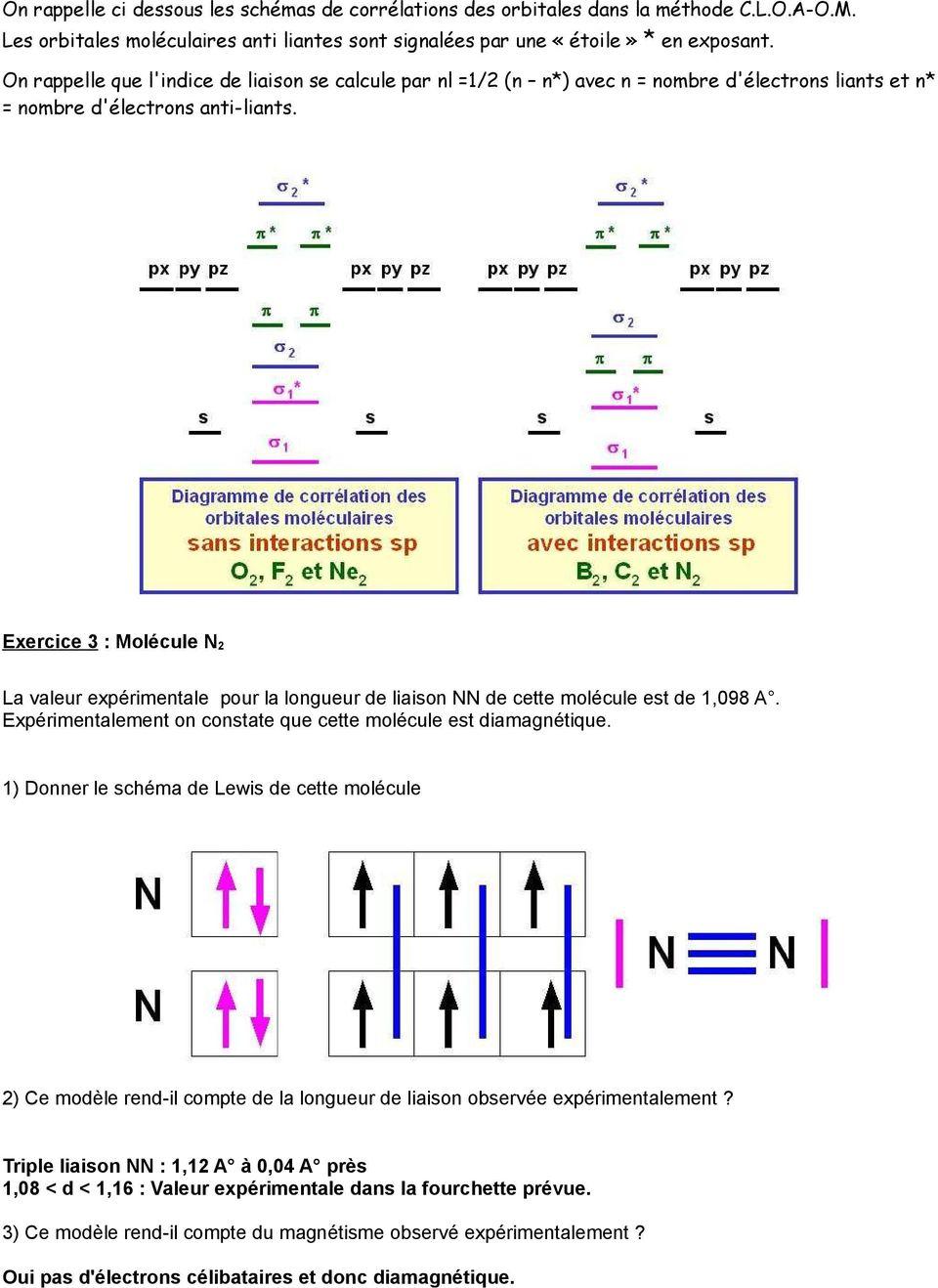 medium resolution of exercice 3 mol cule n2 la valeur exp rimentale pour la longueur de liaison nn de cette