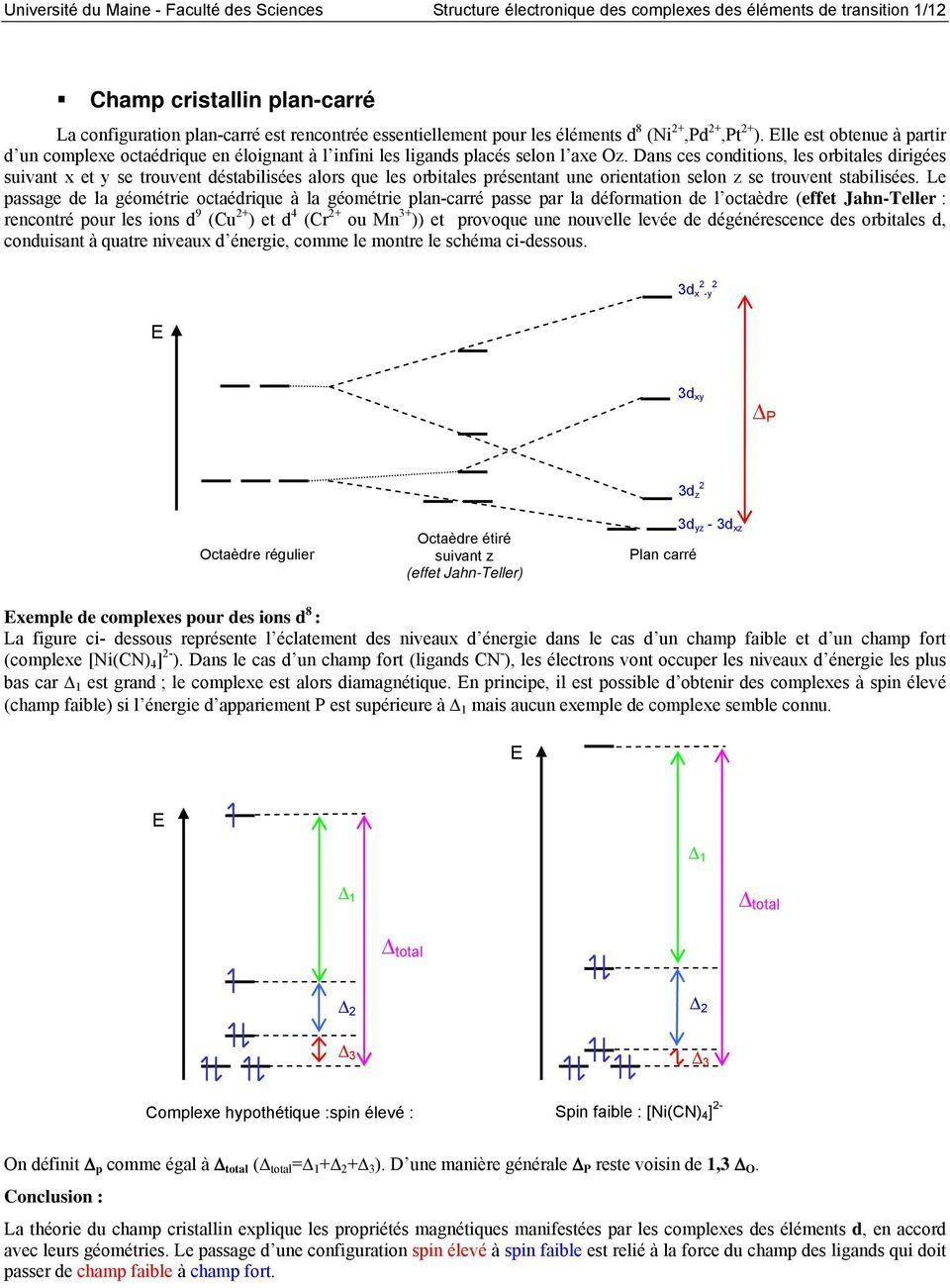 medium resolution of dans ces conditions les orbitales dirig es suivant et se trouvent d stabilis es alors que les orbitales