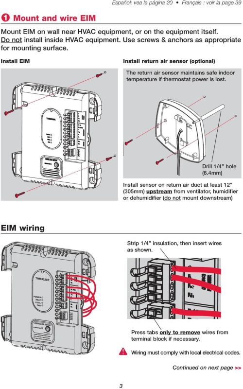 small resolution of install eim install return air sensor optional the return air sensor maintains safe indoor