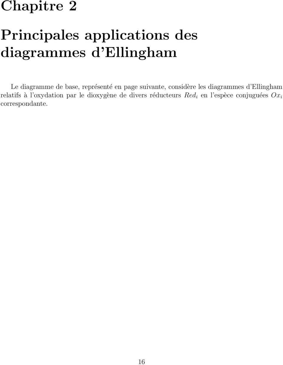hight resolution of diagrammes d ellingham relatifs l oxydation par le dioxyg ne de