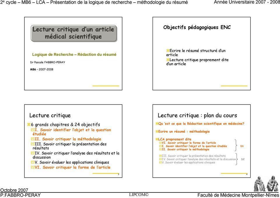savoir critiquer la presentation des resultats iv savoir critiquer l analyse des resultats et la