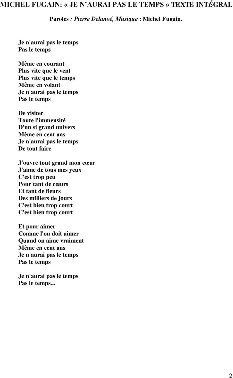 Paroles Je N'aurai Pas Le Temps - Les B.B.