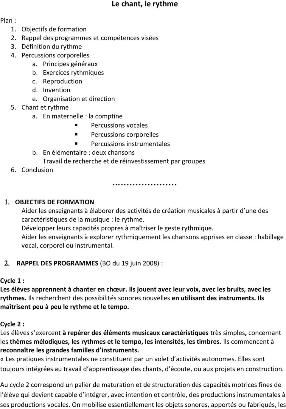Percussions Corporelles Cycle 2 : percussions, corporelles, cycle, OBJECTIFS, FORMATION, Download