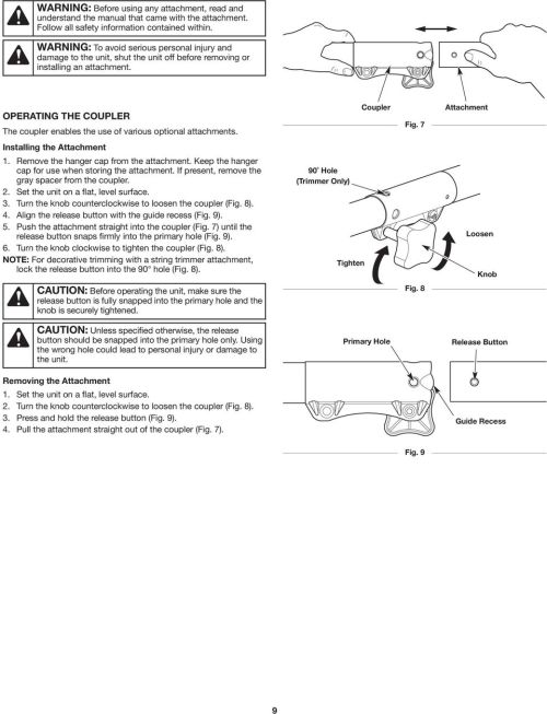 small resolution of operating the coupler the coupler enables the use of various optional attachments installing the attachment