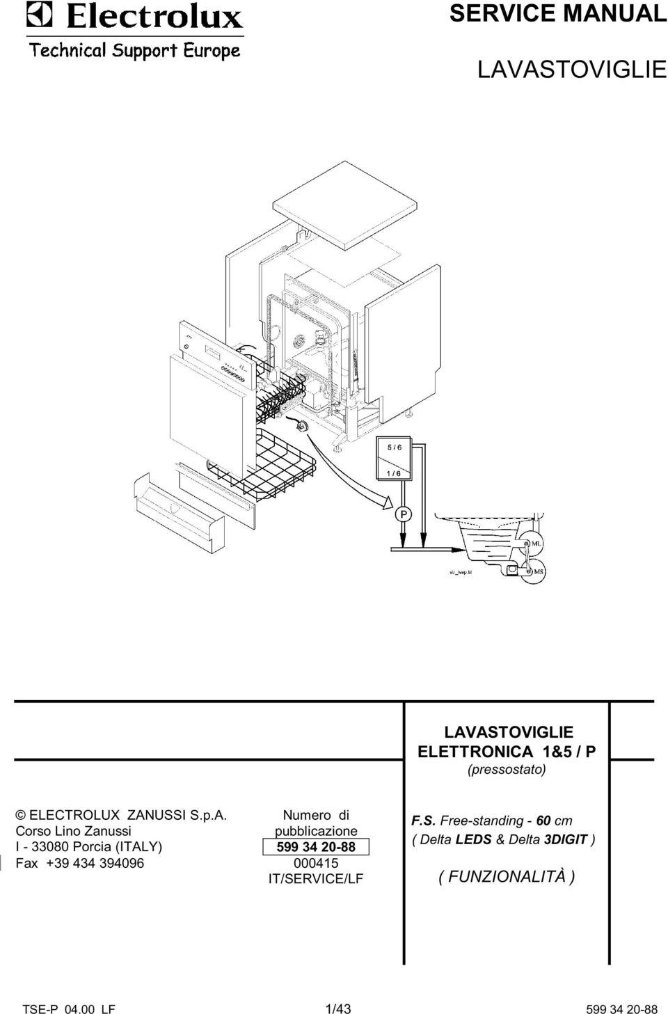 SERVICE MANUAL LAVASTOVIGLIE LAVASTOVIGLIE ELETTRONICA 1&5
