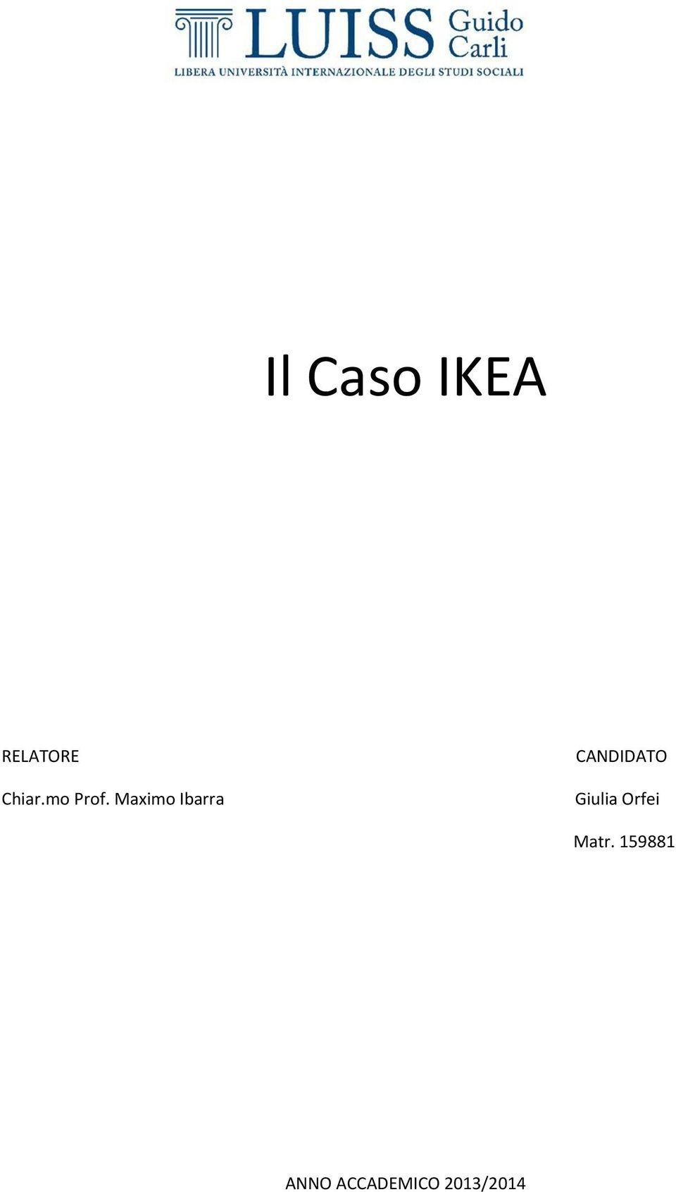 Il Caso Ikea Chiarmo Prof Maximo Ibarra Matr Pdf