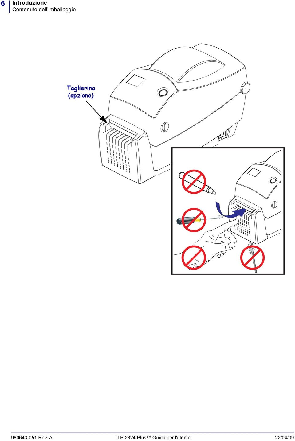 Zebra TLP 2824 Plus. Stampante termica desktop. Guida per
