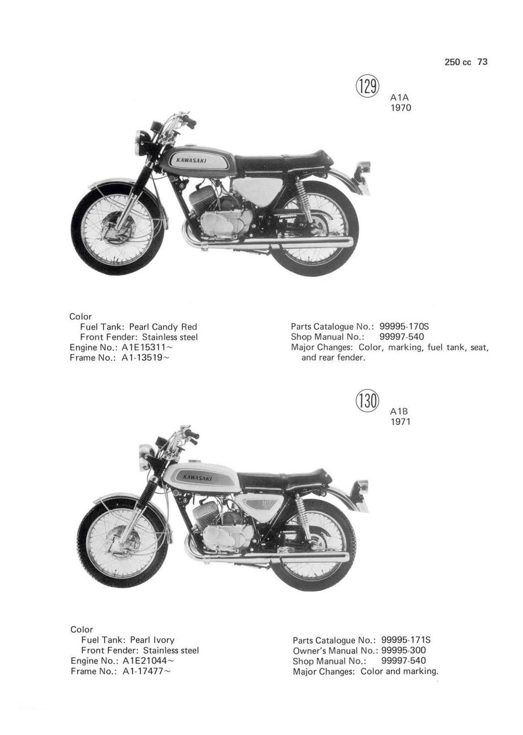 Motorcycle Parts KAWASAKI 250 F8 F8A F81M BISON 1971 1972