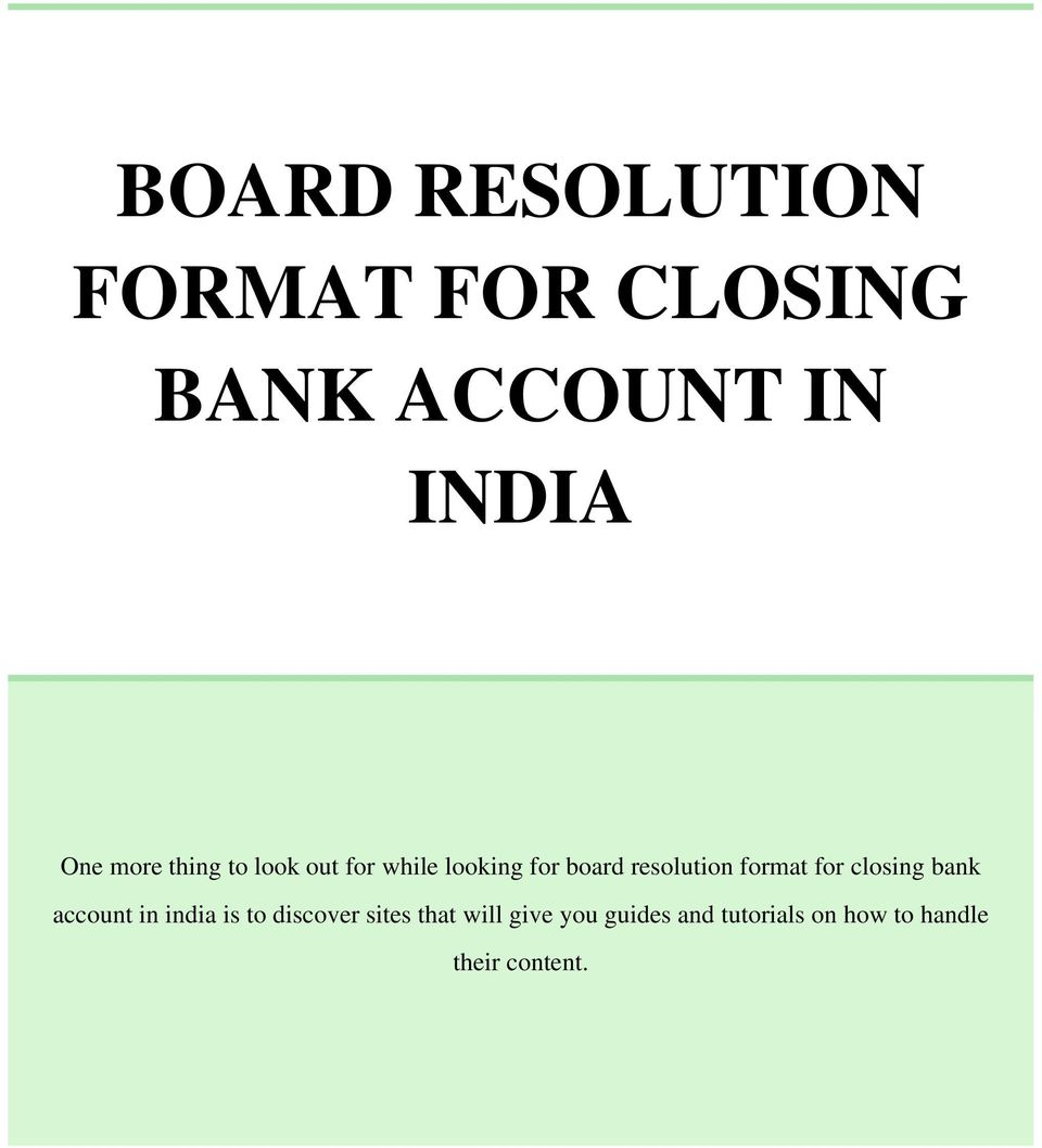 Board Resolution Letter To Open Bank Account Board Resolution