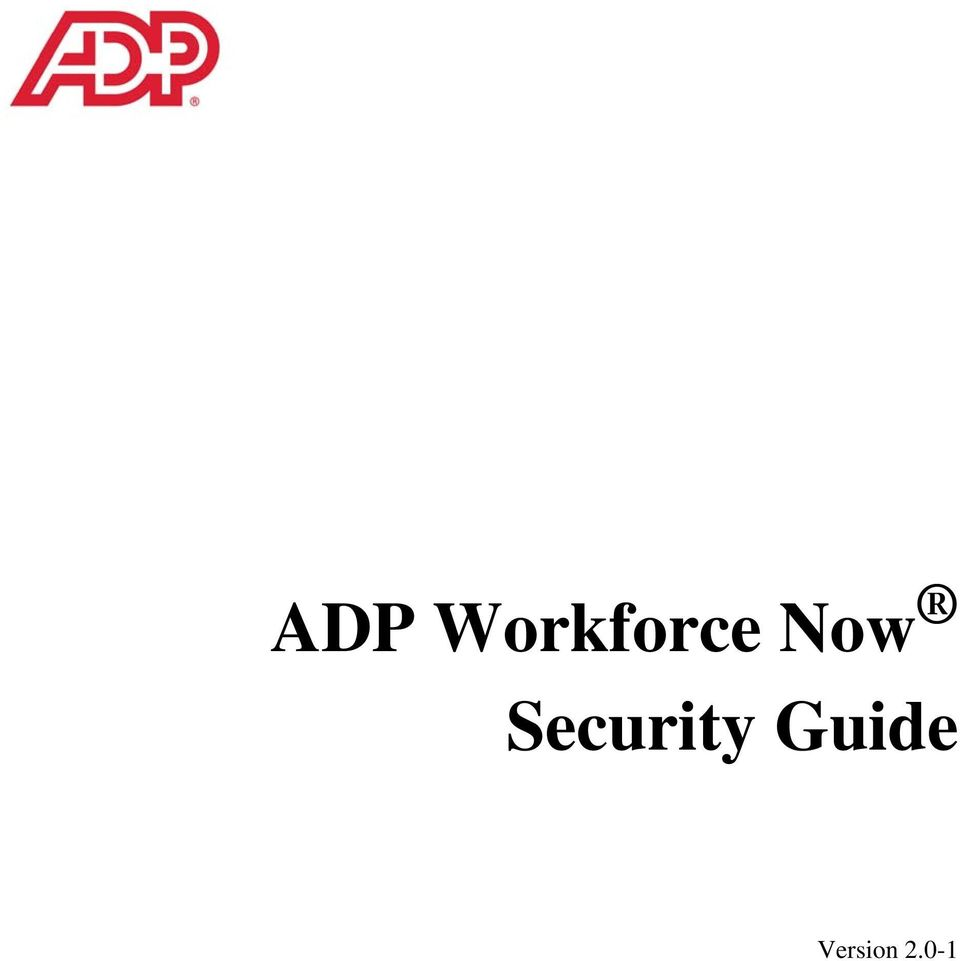 ADP Workforce Now Security Guide. Version PDF