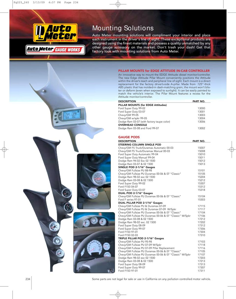 medium resolution of get that factory look with mounting solutions from auto meter pillar mounts for edge attitude