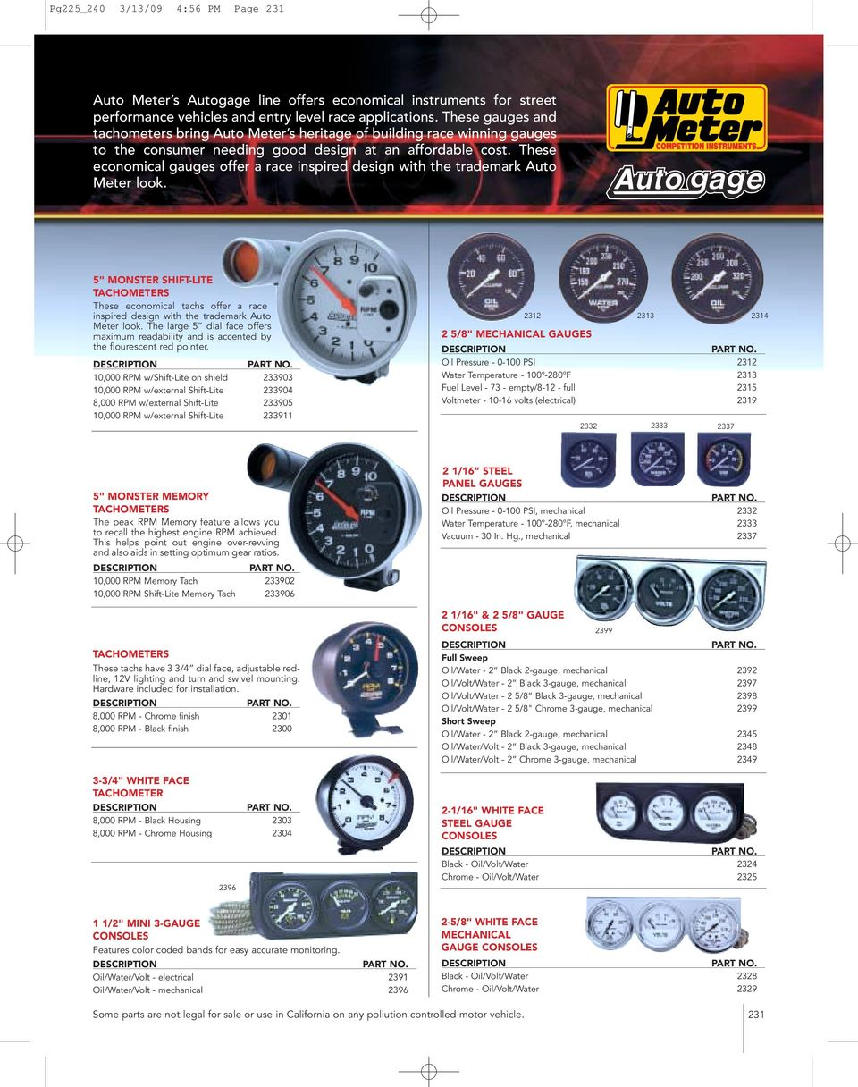 hight resolution of these economical gauges offer a race inspired design with the trademark auto meter look