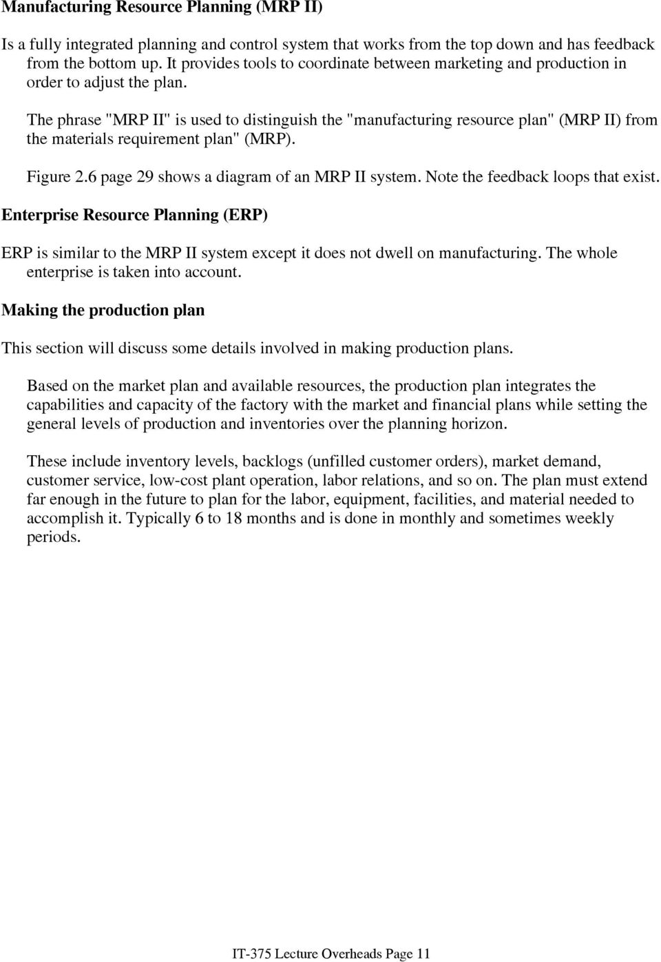 medium resolution of the phrase mrp ii is used to distinguish the manufacturing resource plan