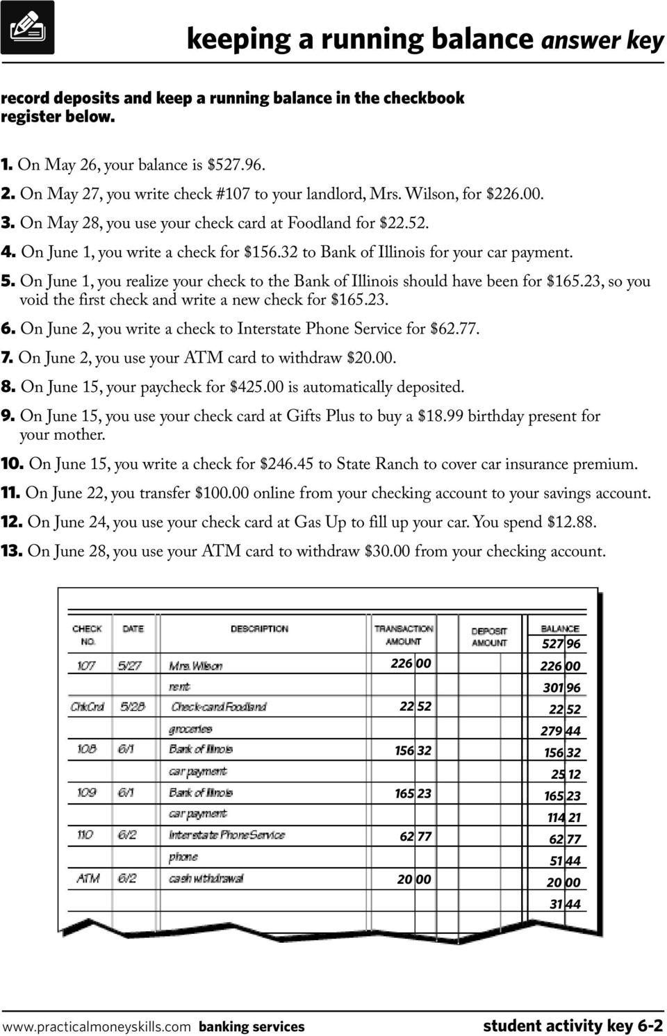 medium resolution of keeping a running balance answer key - PDF Free Download