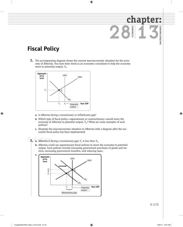 chapter Solution Fiscal Policy PDF