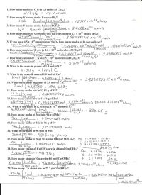 Worksheet Mole Problems Chemistry