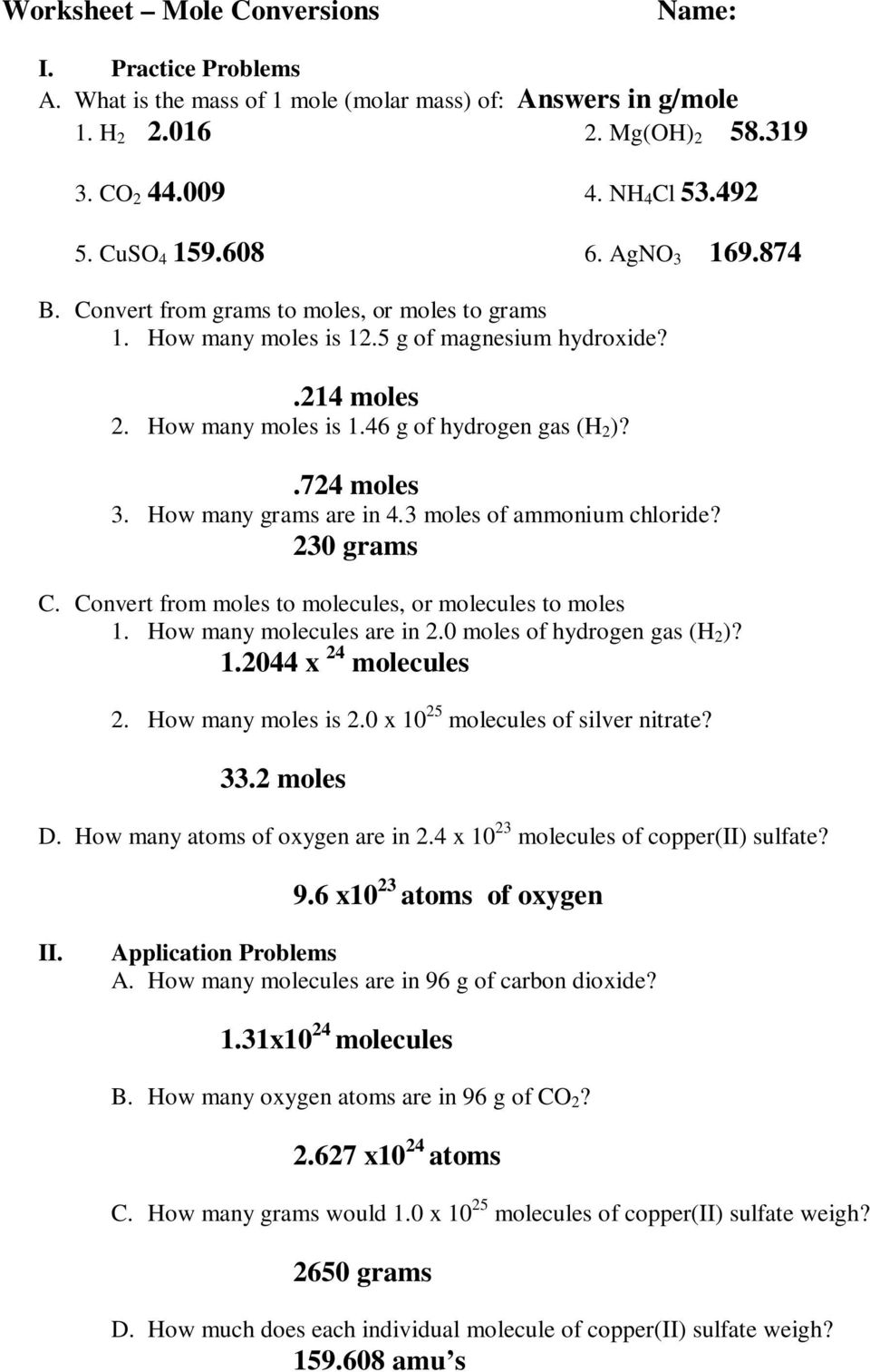 Printables. Chemistry A Study Of Matter Worksheet Answers