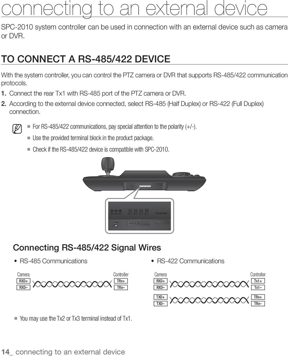 medium resolution of connect the rear tx1 with rs 485 port of the ptz camera or dvr