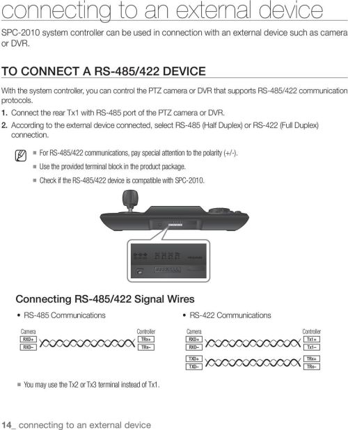 small resolution of connect the rear tx1 with rs 485 port of the ptz camera or dvr