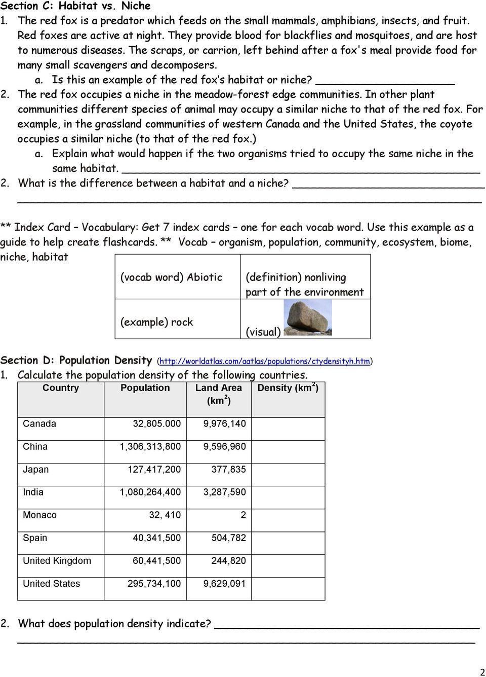 medium resolution of Population Community Ecosystem Worksheet - Worksheet List