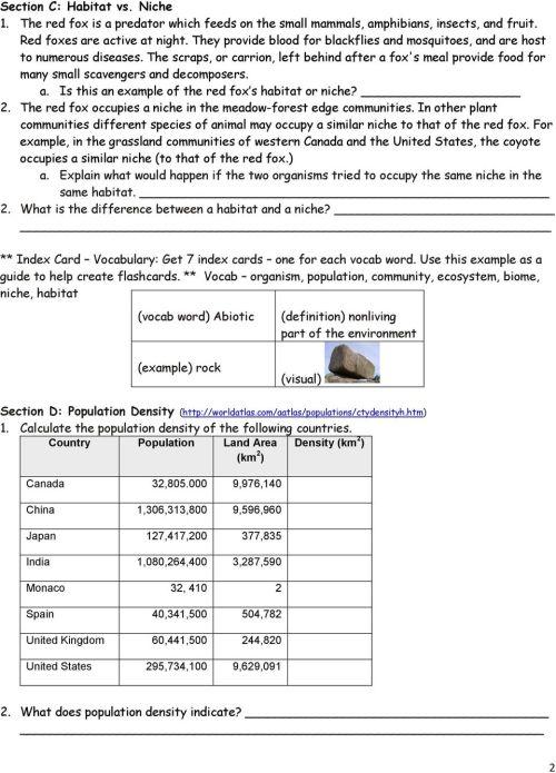 small resolution of Population Community Ecosystem Worksheet - Worksheet List