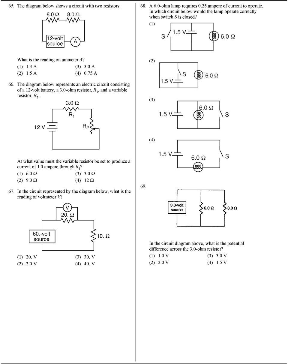 medium resolution of the diagram below represents an electric circuit consisting of a 12 volt battery a