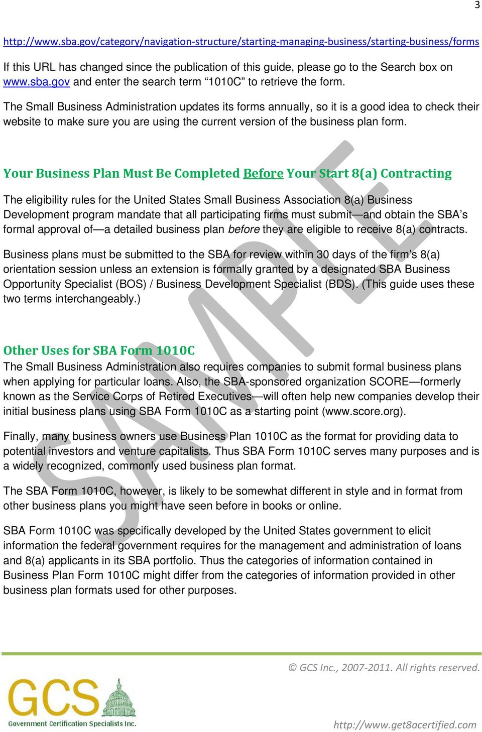 Small Business Administration SBA Business Plan