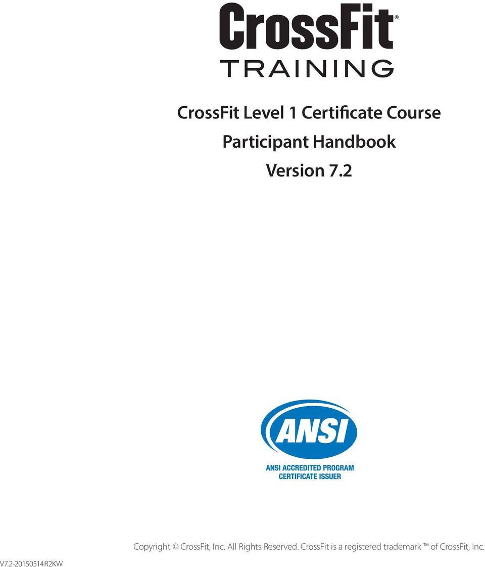 CrossFit Level 1 Certificate Course Participant Handbook