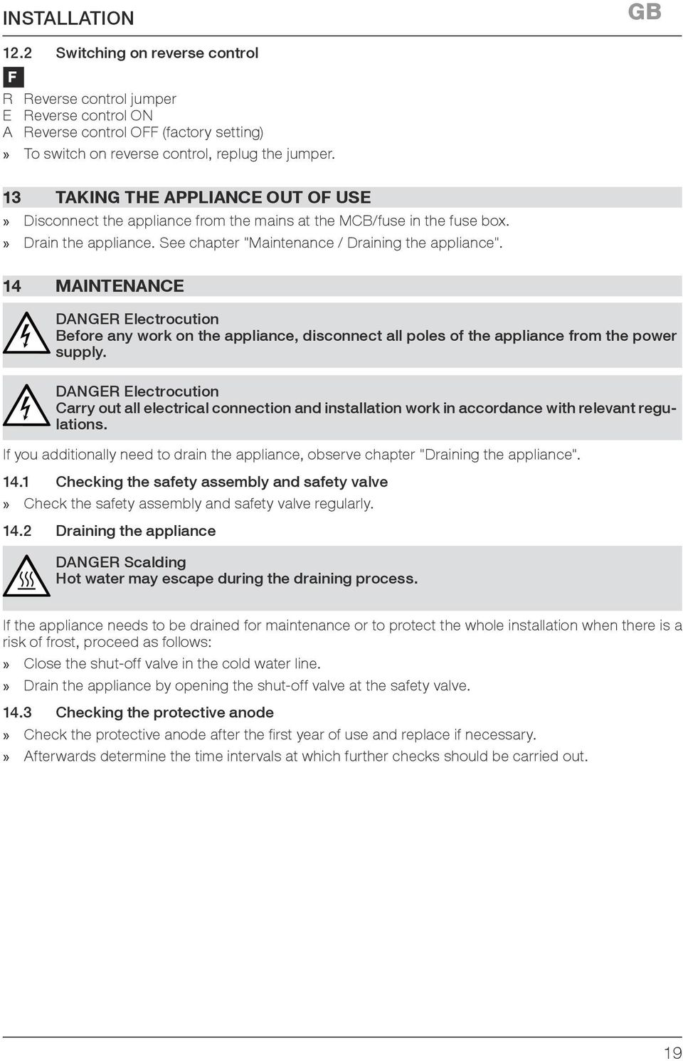 medium resolution of 14 maintenance danger electrocution before any work on the appliance disconnect all poles of the