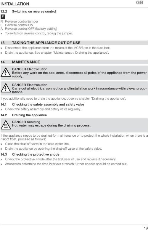 small resolution of 14 maintenance danger electrocution before any work on the appliance disconnect all poles of the