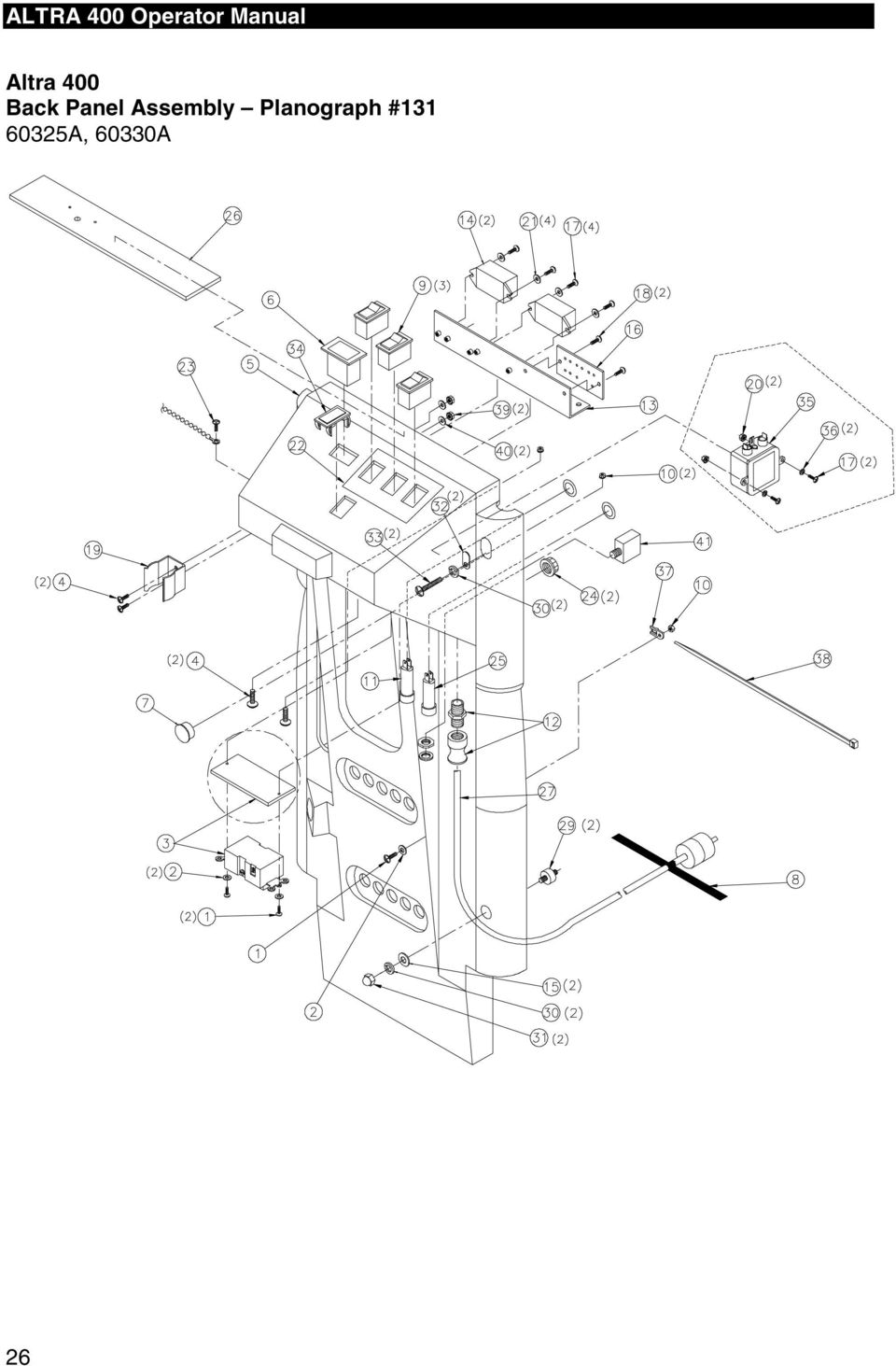 ALTRA 400 Operator Manual. Planographs and Wiring Diagrams