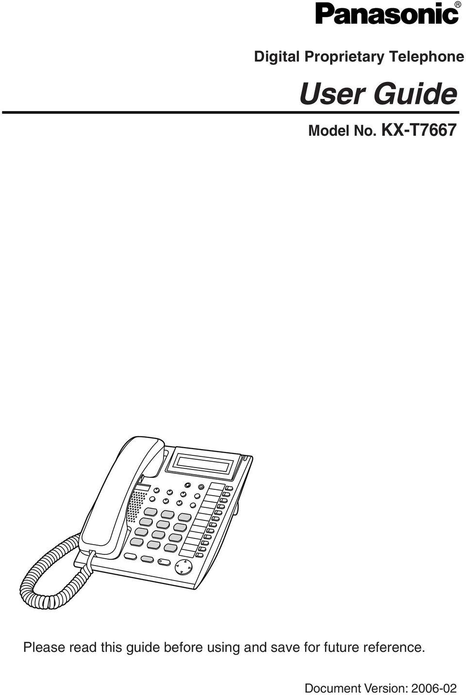 User Guide. Digital Proprietary Telephone. Model No. KX