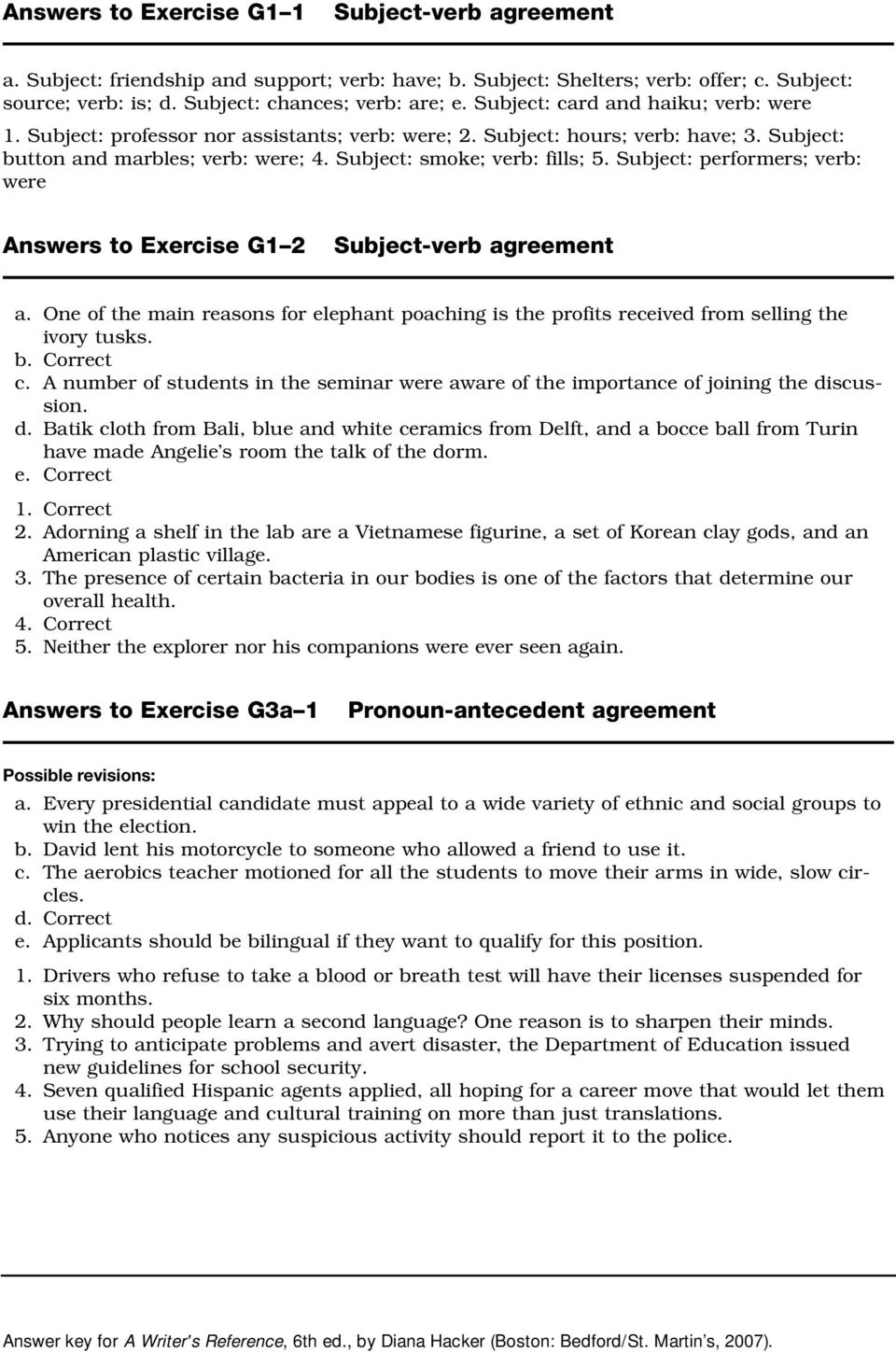 medium resolution of Exercise G1 1 Subject Verb Agreement Answers - Exercise Poster