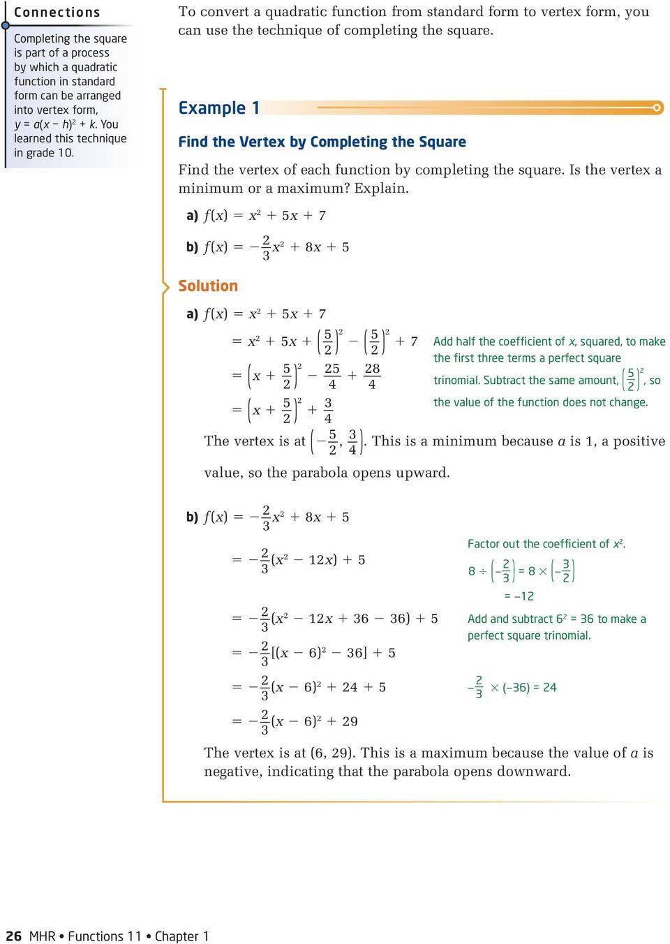hight resolution of 1.3. Maximum or Minimum of a Quadratic Function. Investigate A - PDF Free  Download
