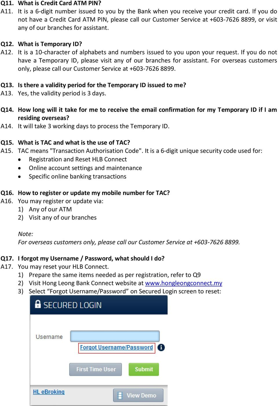 Hong Leong Bank Connect Online Banking Faqs General Pdf Free Download