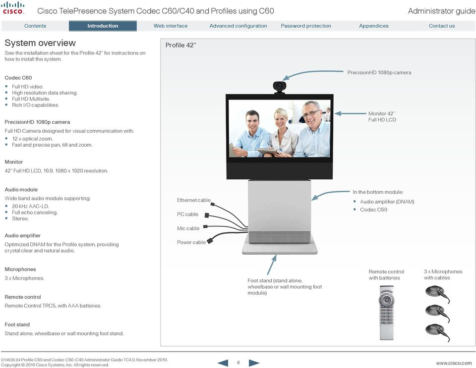 Administrator guide. For Cisco TelePresence System Codec