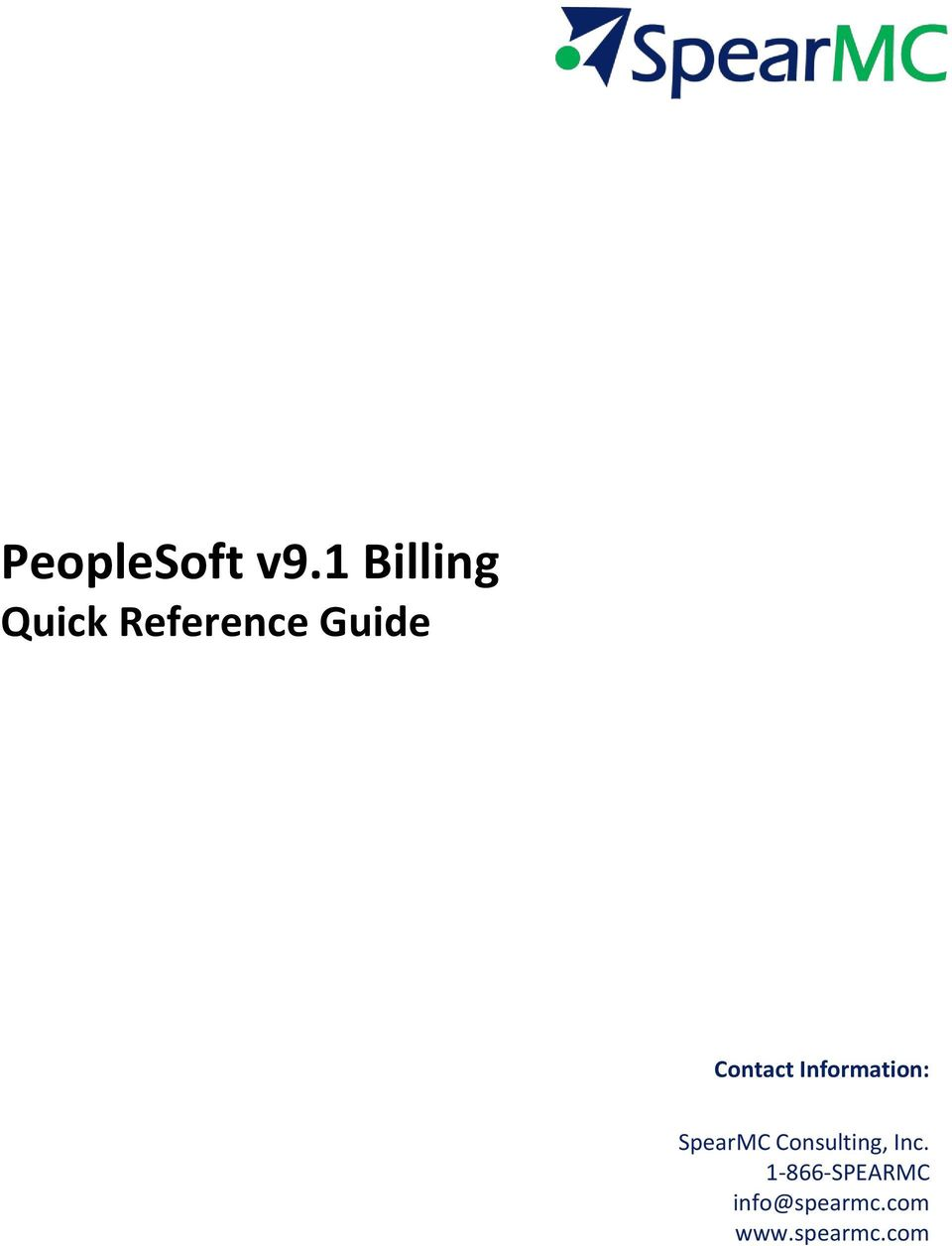 PeopleSoft v9.1 Billing Quick Reference Guide Contact
