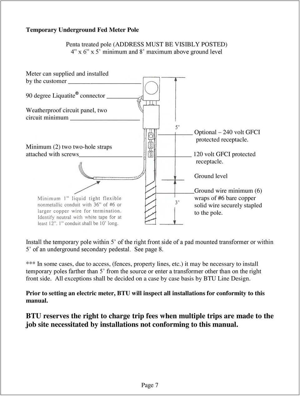 medium resolution of 120 volt gfci protected receptacle ground level ground wire minimum 6 wraps of